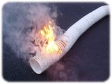 Mite_E_Ducts_white_vinyl_dryer_vent_on_fire